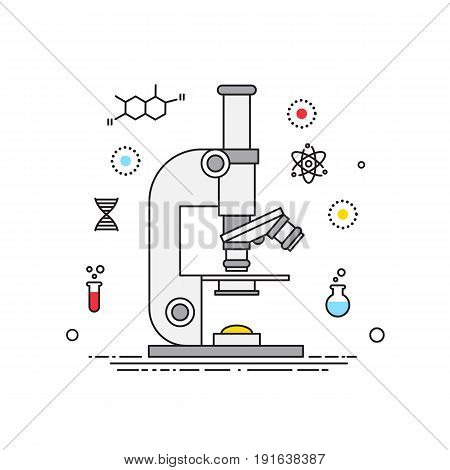 Microscope lines design vector, science elements. Microscope with lines icons stock illustration for banners, catalogs, infographics.