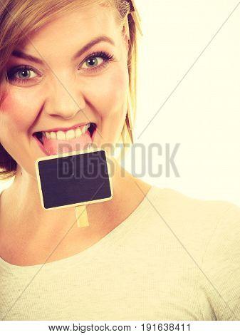 Teenage Girl Biting Little School Blackboards
