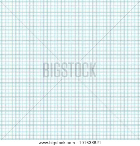 Vector blue metric graph paper seamless pattern 1mm grid accented every centimeter