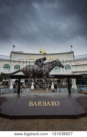 Louisville United States: May 4 2017: Barbaro Statue at Entrance to Churchill Downs