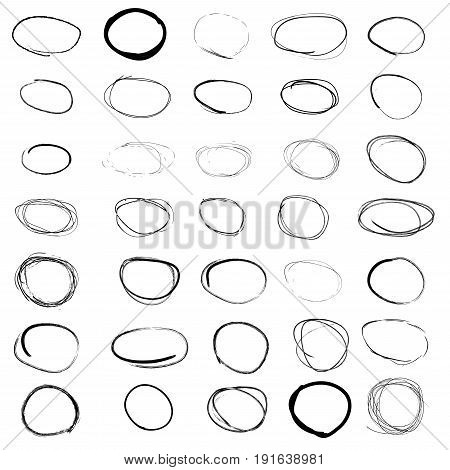 Highlight black circles - hand draw red rounds big vector set