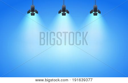 Studio spotlight background with lamps - vector EPS 10 illustration