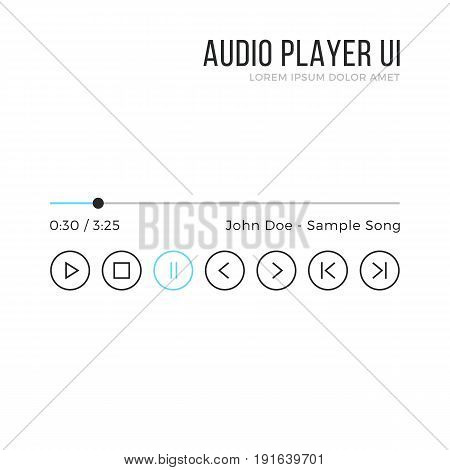 Audio player UI. Media player interface, black and blue gui elements isolated on white background. Thin line design. Minimalistic clean theme. Vector illustration
