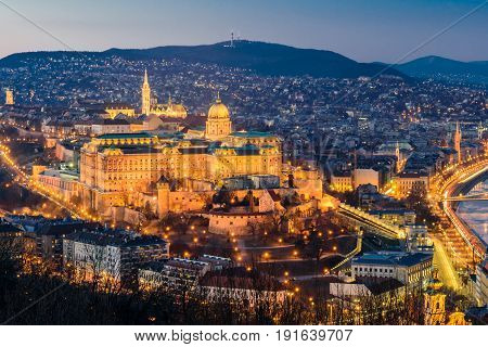 Hungarian landmarks - Royal Palace in Budapest at night.