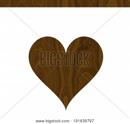 Nice wooden brown heart with decorative wooden line of the same color. Homey vintage shabby chic decor.