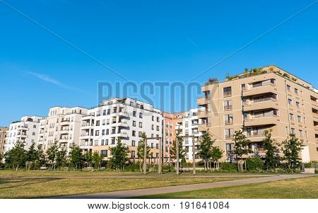Development area with new apartment houses seen in Berlin, Germany