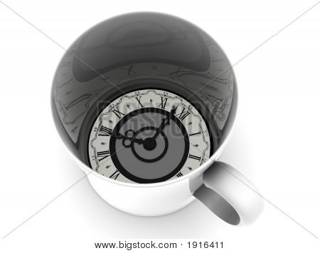 Cup With Clock. Eight O'Clock 3D