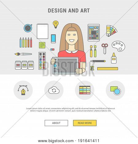 Flat design vector illustration of lineart, designer workplace. Designer woman with graphic tablet and accessories. Minimalist style and color for Web and Mobile App
