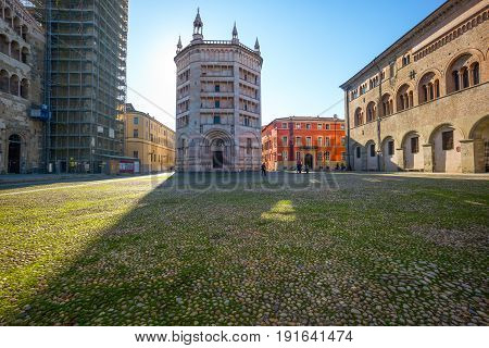 Parma Italy - November 28 2013: View of the baptistery of the basilica cathedral in duomo square