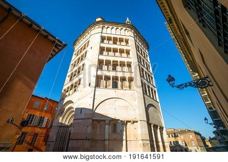 Parma the baptistery of the basilica cathedral seen from the orgo del Correggio