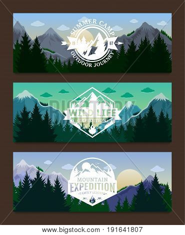 Mountains Adventures Horizontal Banner