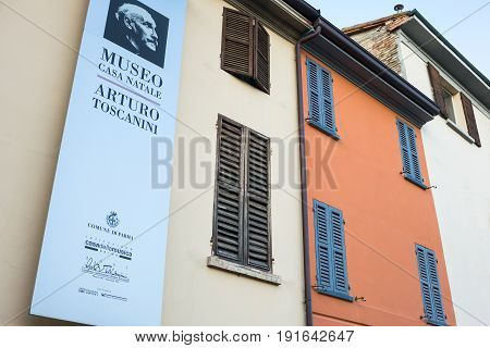 Parma Italy - November 28 2013: The birthplace of Arturo Toscanini director