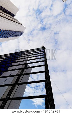 the reflection of the sky mirrored building. High