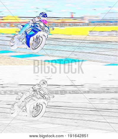 A motorcycle racer on a sports track. Color and monochrome image.