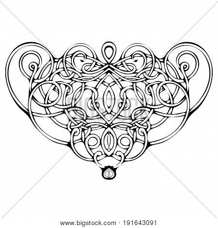 Celtic pattern, vector wicker ornament, hand drawing decorative element. Black and white wicker weave on a white background for coloring book, monochrome