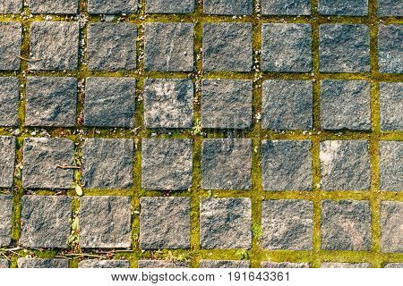 A path paved with stone. Texture close up. Granite cobblestoned pavement background