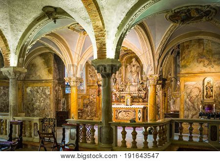 Parma, Italy - November 29, 2013: The crypt of the Basilica Cathedral