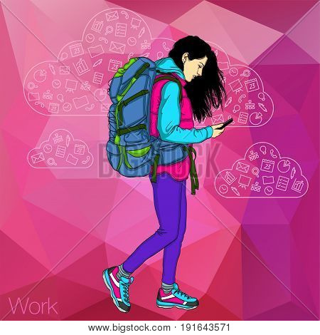 Walking girl with a mobile phone. Icons apps in phone of girl. Vector girl walking and looking at phone.
