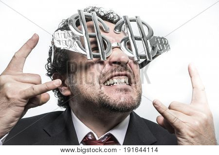 Funny Businessman with glasses in the form of silver dollar, expressions of surprise nerves, stress and power