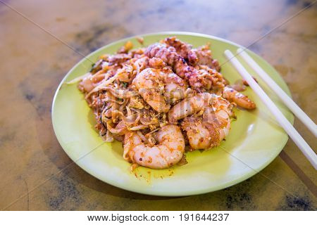 Penang Char Kuey Teow Or Fried Noodle With Big Prawns