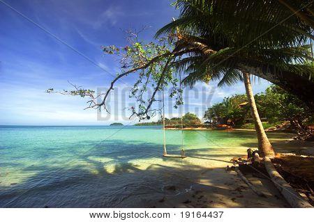 On the tropical beach. Siam bay. Province Trat. Koh Chang island. Kingdom Thailand