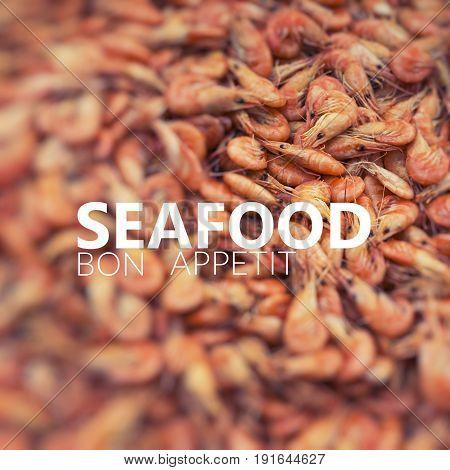Seafish Bon Appetit. Fresh Shrimp At At Outdoor Seafood Market.