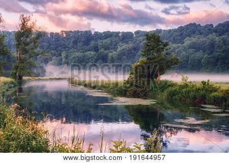 The Brenz River In Eselsburger Tal Near Herbrechtingen, Germany At Early Morning