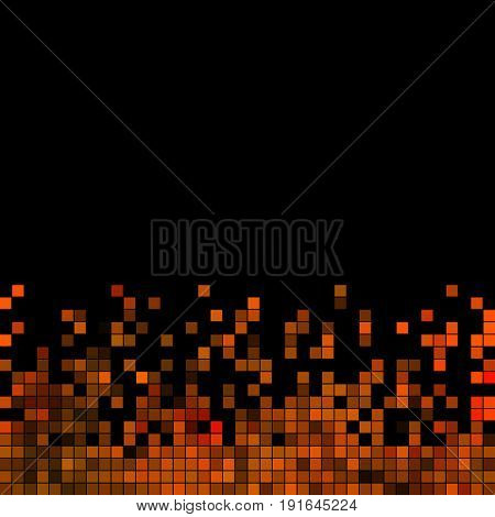 abstract vector square pixel mosaic background - orange on black background