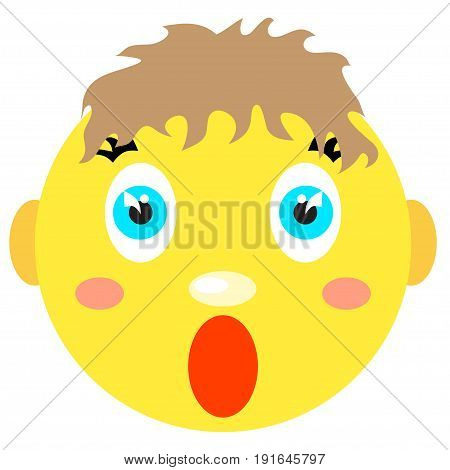 Smiley boy screams, scared. Icons on a white background. Vector image in a cartoon style