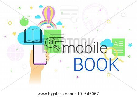Mobile book and electronic library app on smartphone concept vector illustration. Human hand holds smart phone with ebook app for reading interesting books and education. E-book sync and cloud storage