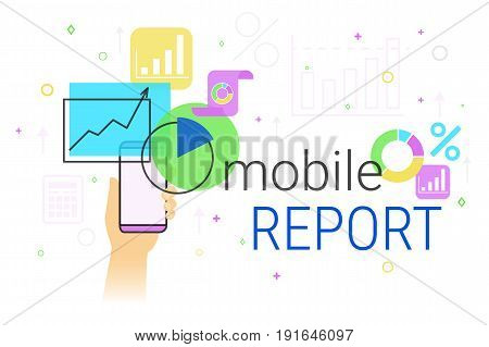 Mobile report and accounting on smartphone creative concept vector illustration. Human hand holds smart phone with analytics app for creating reports and data sheets online. Mobile perorting service