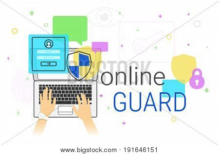 Online guard app on laptop creative concept vector illustration. Human hands typing on laptop keyboard for internet protection and web safety. Security applications for web site and modern lifestyle