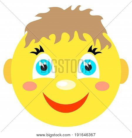 Smiley boy smiles. Icons on a white background. Vector image in a cartoon style