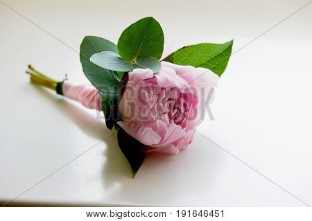Boutonniere for the groom.Peony pink. Wedding floristry