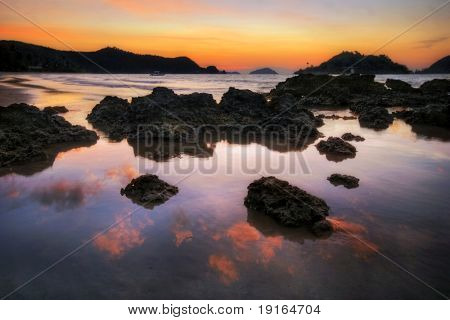 Sunset on tropical beach. Siam bay. Province Trat. Koh Mak island. Kingdom Thailand poster