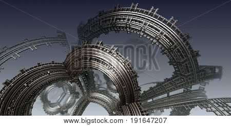 Abstract background, fantastic 3D structures, fictional background.