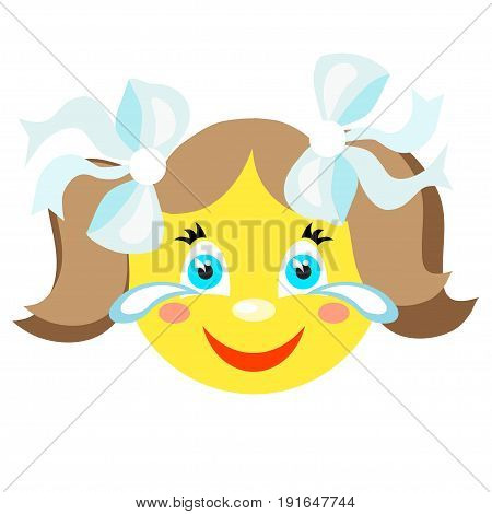 Smiley girl laughs and cries. Icons on a white background. Vector image in a cartoon style
