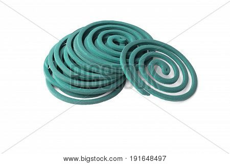 mosquito repellent coils are stacked on white background. mosquito repellent  isolated