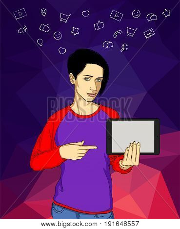 Beautiful girl show a tablet computer. Icons of social media on abstract background. Vector illustration for template of banner
