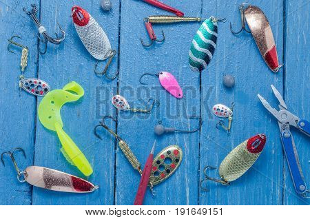 A Variety Of Baits And Tools For Spinning. Baits For Fishing. Top View. Water Drops.