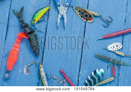 Fishing Lures And Tools Are In The Form Of A Circle. Space For The Inscription. Copyspace.