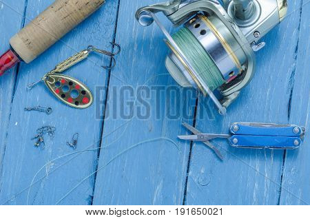 Set Of Fisherman. Spinning, Fishing Reel, Spool And Scissors.