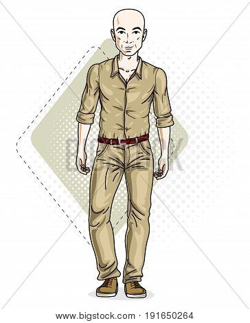 Happy bald young adult man standing. Vector character wearing casual clothes like jeans and cotton shirt.