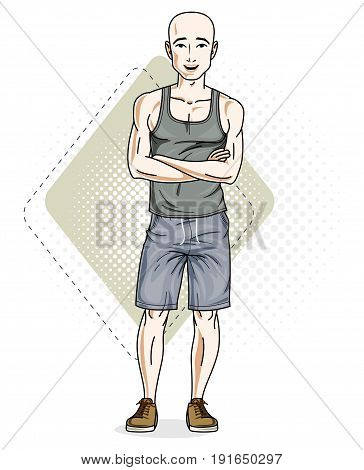 Handsome hairless young man poses on modern background. Vector illustration of male. Lifestyle theme clipart.
