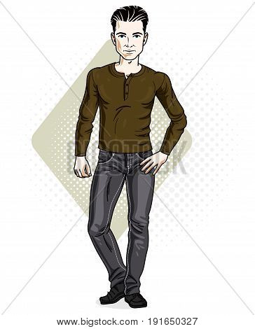 Happy brunet young adult man standing. Vector character wearing casual clothes like jeans and sweatshirt.