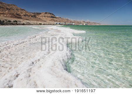View of Dead Sea coastline. Ein Bokek Israel.