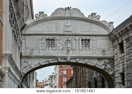 The Famous Bridge If Sighs In Venice, Italy