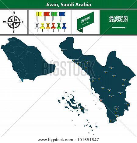 Map Of Jizan, Saudi Arabia