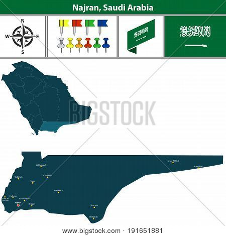 Map Of Najran, Saudi Arabia