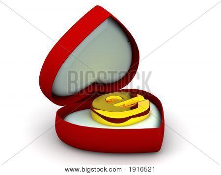Caixa de coração com um símbolo para a Internet